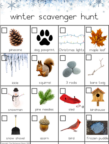 Winter Scavenger Hunt for Toddlers, Free Printables, Montessori