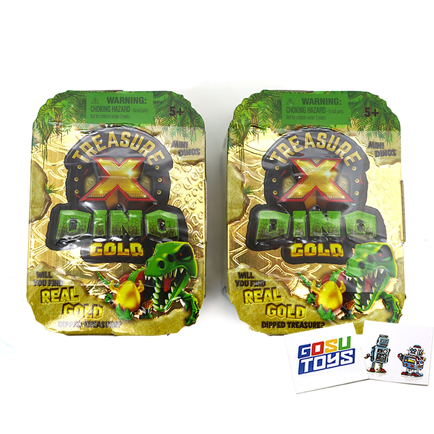 Treasure X Dino Gold Mini Dinos (2 Pack) with 2 GosuToys Stickers