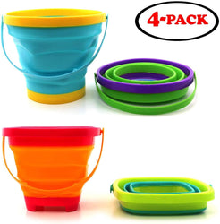 Gosu Toys Foldable Sand Bucket Expandable Sand Pail Square and Circle for Beach Multi Purpose for Kids Collapsible Silicone Bucket