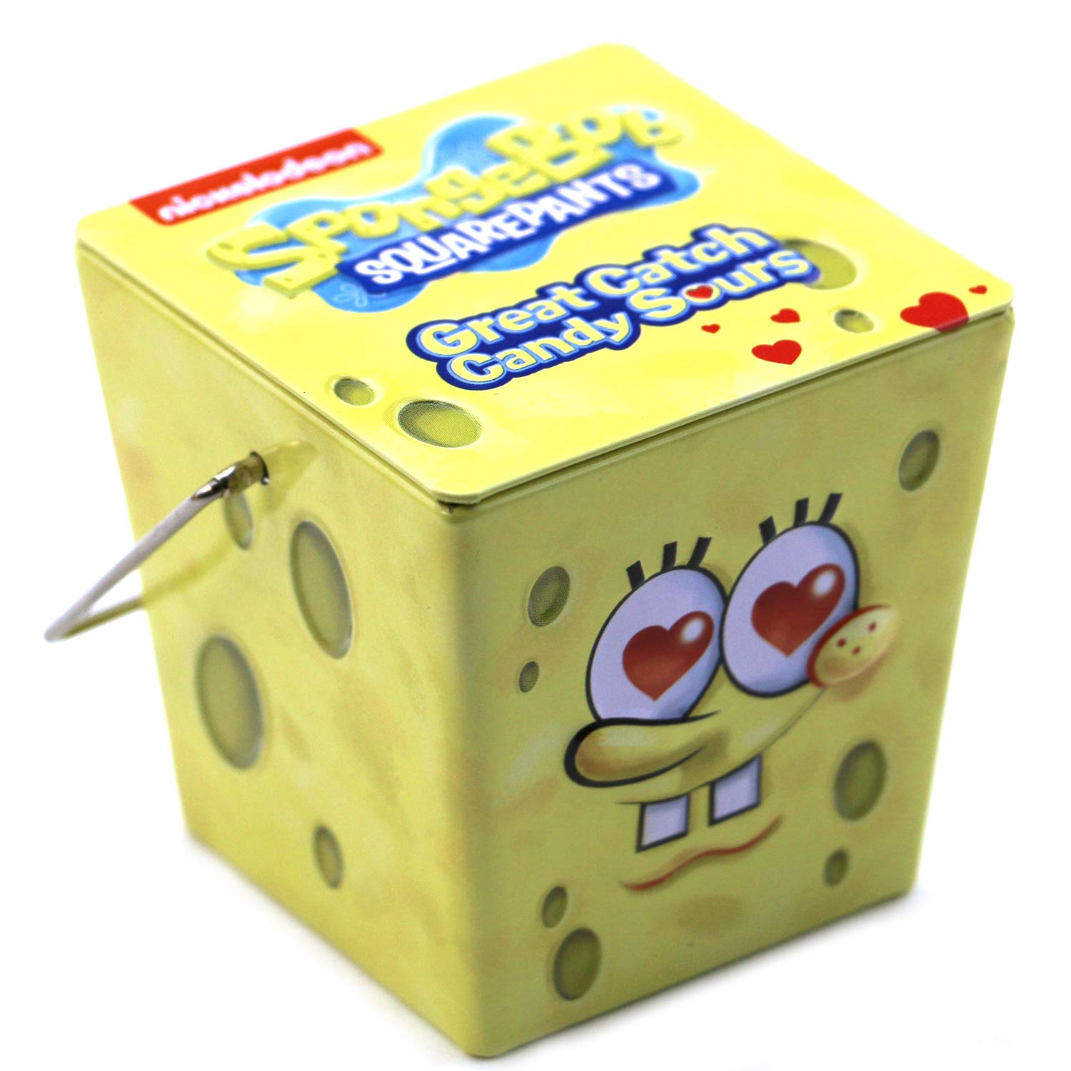 SpongeBob Great Catch Square Bucket Tin Candy (2 Pack) Strawberry Lemonade Flavor Heart Shaped Gift Stuffers with 2 GosuToys Stickers
