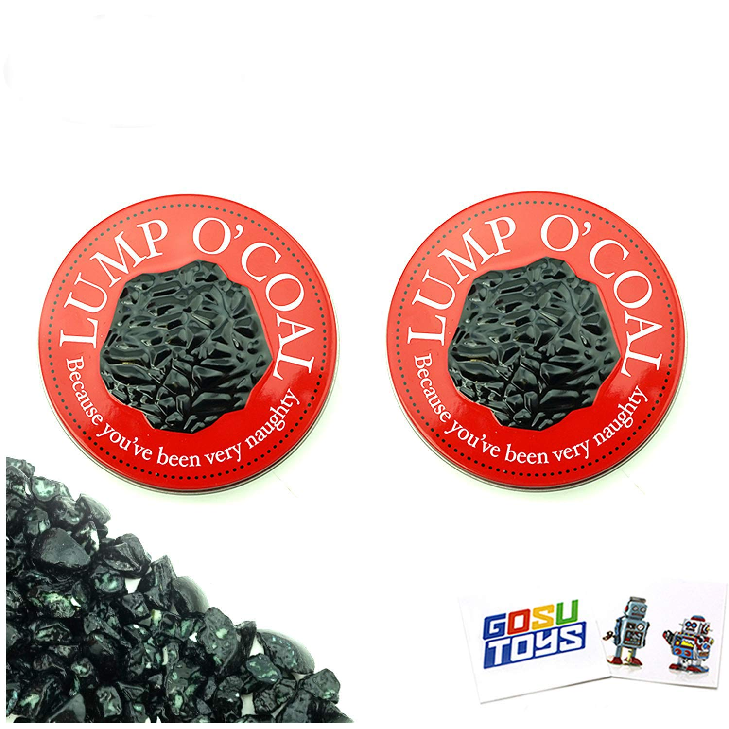 (2 Pack) Lump O Coal Tin Bubble Gum Candy Lump of Coal Shaped Gift Stuffer with 2 Gosu Toys Stickers