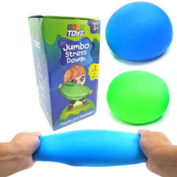 Gosu Toys Jumbo Stress Dough Ball (2 Pack) Giant Stress Ball Super Stretchy Anxiety Stress Relief Toy Green, Blue Over 5 Inch Diameter