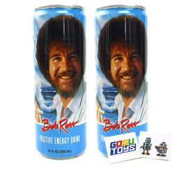 Bob Ross Positive Energy Drink 12 FL OZ (355mL) Can (2 Pack) With 2 GosuToys Stickers