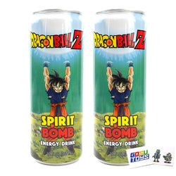 Dragon Ball Z Spirit Bomb Energy Drink 12 FL OZ (355mL) (2 Pack) DBZ Goku Can With 2 GosuToys Stickers