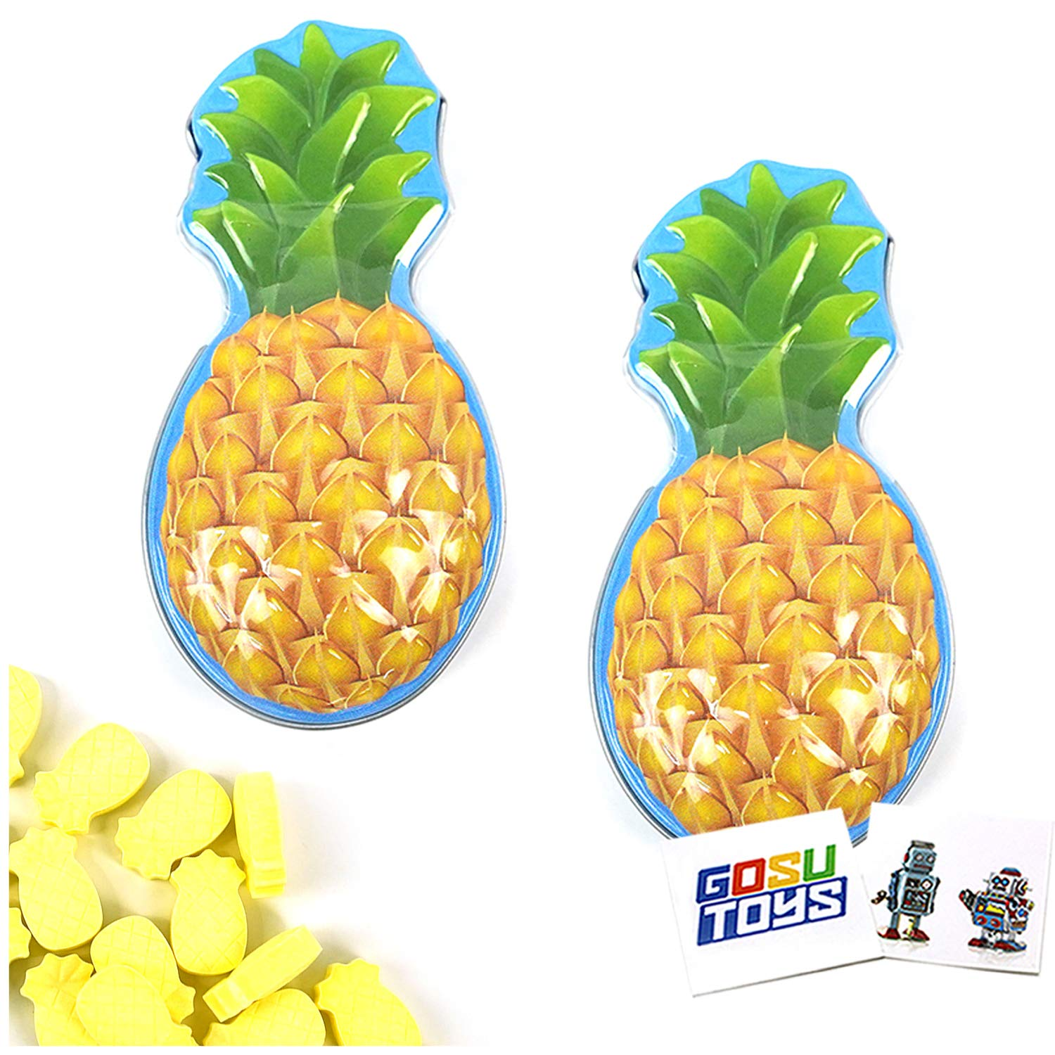 Aloha Candies Pineapple Flavor Candy (2 Pack) with 2 GosuToys Stickers
