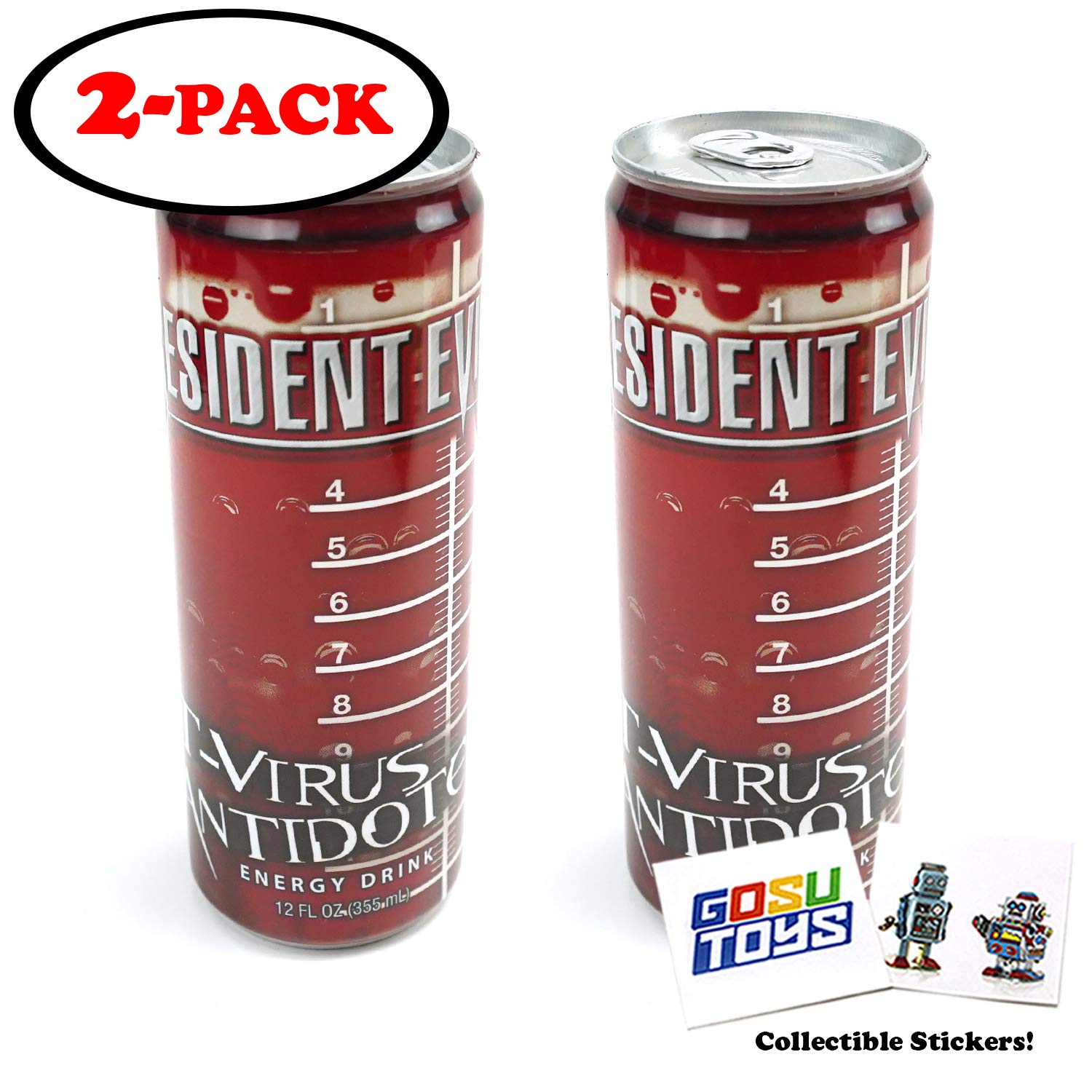 Resident Evil T Virus Antidote Energy Drink 12 FL OZ (355mL) (2 Pack) Can With 2 GosuToys Stickers