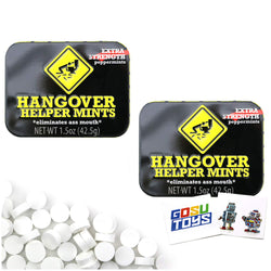 Hangover Helper Mints Fun Party Gag Tin (2 pack) Extra Strength Peppermints Candy Gift Stuffer with 2 GosuToys Stickers