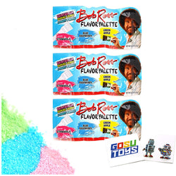 Bob Ross Flavor Palette (3 Pack) Paintbrush Dipping Candy 3 Fruity Flavors (Strawberry, Blue Rasberry, Green Apple) with 2 GosuToys Stickers