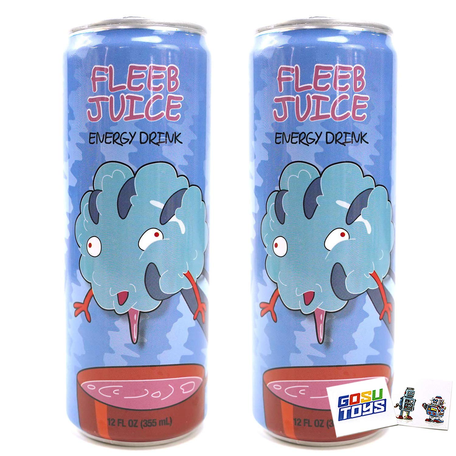 Rick and Morty Fleeb Juice Energy Drink 12 FL OZ (355mL) Can (2 Pack) With 2 GosuToys Stickers