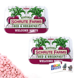 The Office Dwight Schrute Farms Bed & Breakfast Welcome Beat Shaped Mints (2 Pack) with 2 GosuToys Stickers