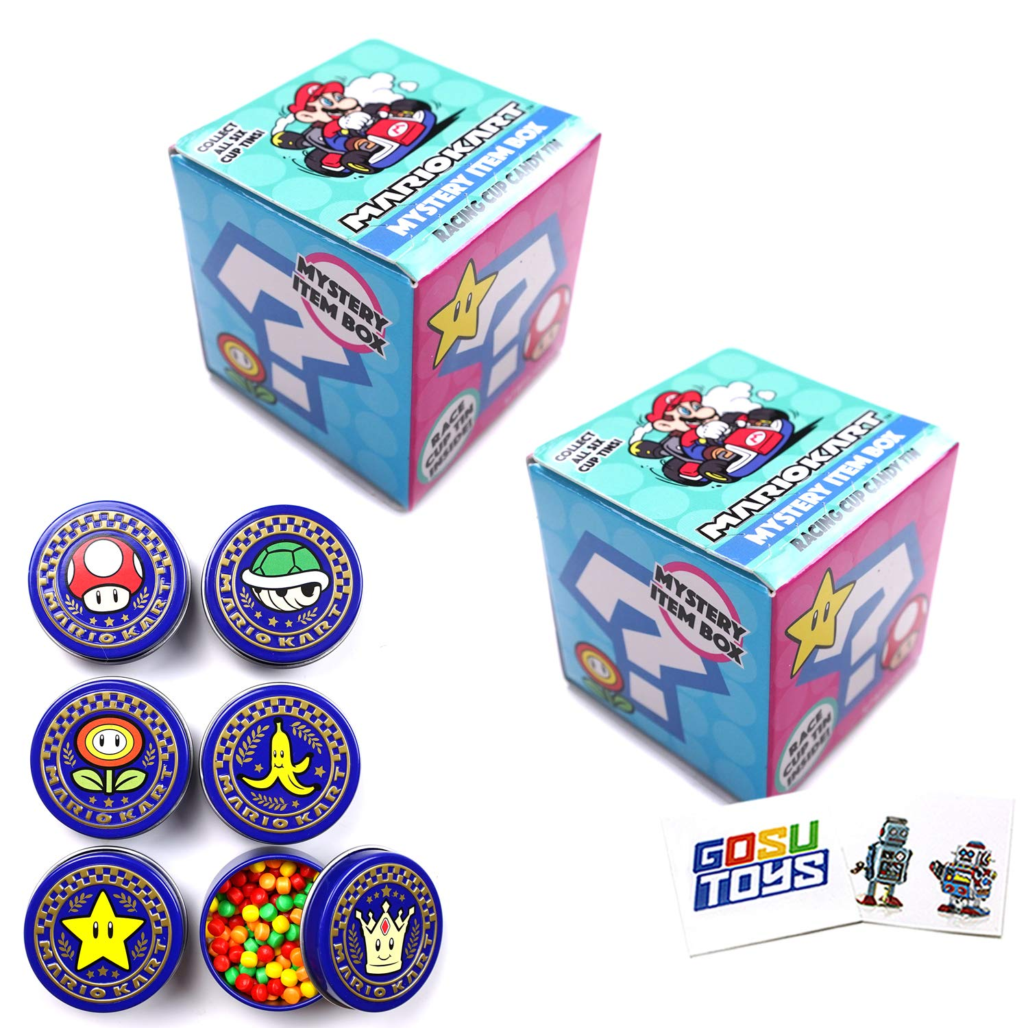 Mario Kart Mystery Item Box Racing cup Candy Tin (2pack) with 2 Gosu Toys Stickers