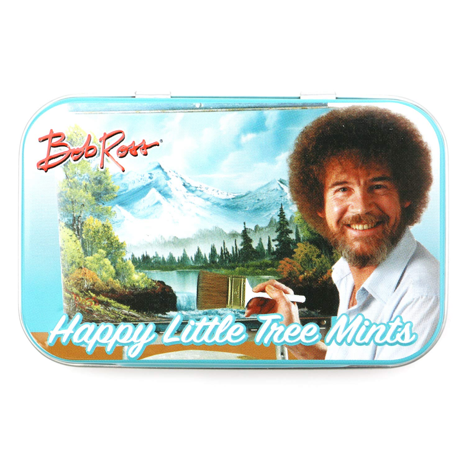 Bob Ross Happy Little Tree Mints Tin Candy (2 Pack) Peppermint Flavor Gift Stuffer with 2 GosuToys Stickers