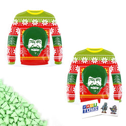 Merry Bob Ross Sweaters Happy Tree Shaped Green Apple Sour Candy (2 Pack) with 2 GosuToys Stickers