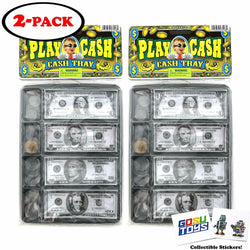 Play Money Fake Kids Cash with Register Tray 20 Bills 20 Coins (2 Pack)