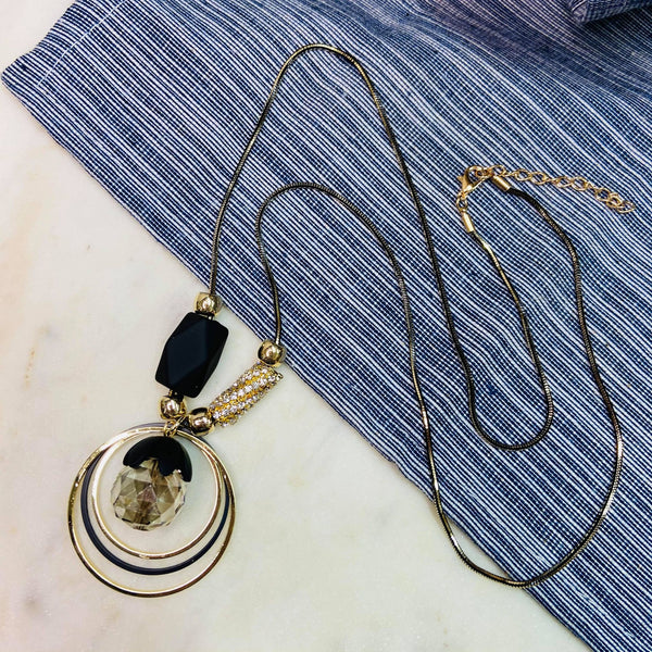 Black Gold Ring Necklace