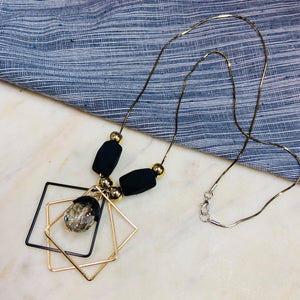 Black Square Loop Necklace