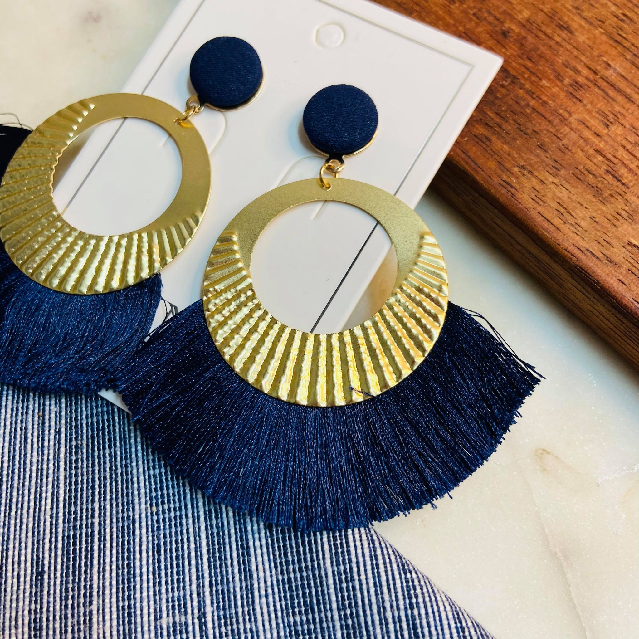 Blue Tassel Hoop Earrings