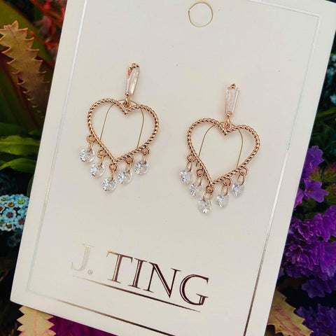 Crystal Heart Shaped Rose Gold Earrings