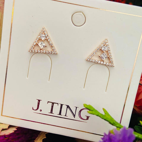 Crystal Triangular Rose Gold Stud Earring