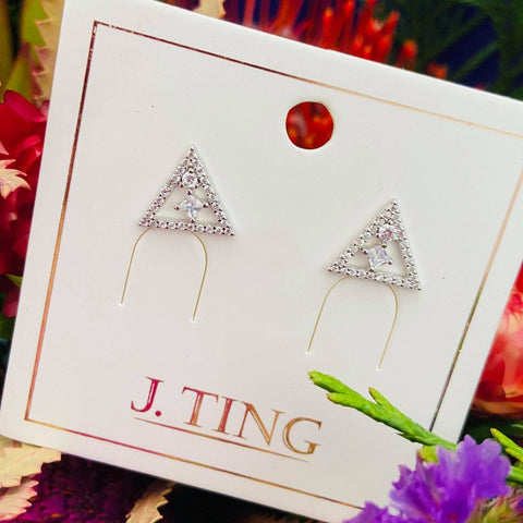 Crystal Triangular Silver Stud Earrings