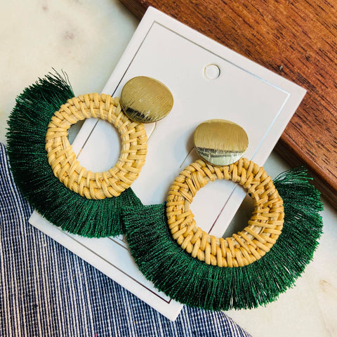 Green Tassel Wood Hoop Earrings