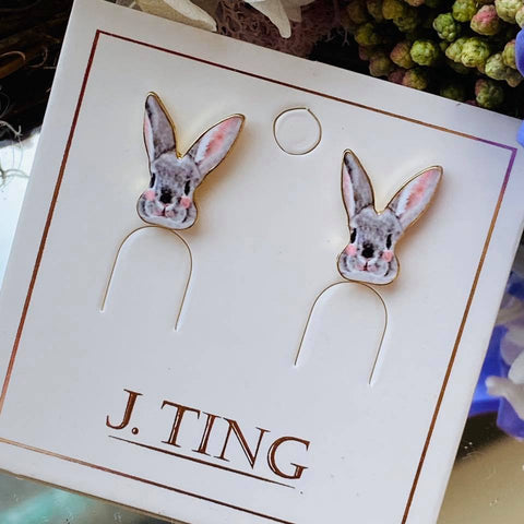 Gray Bunny Stud Earrings