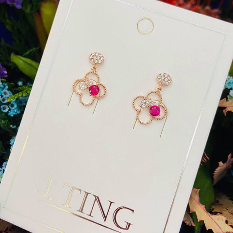 Hanging Clover With Red Gem Earrings