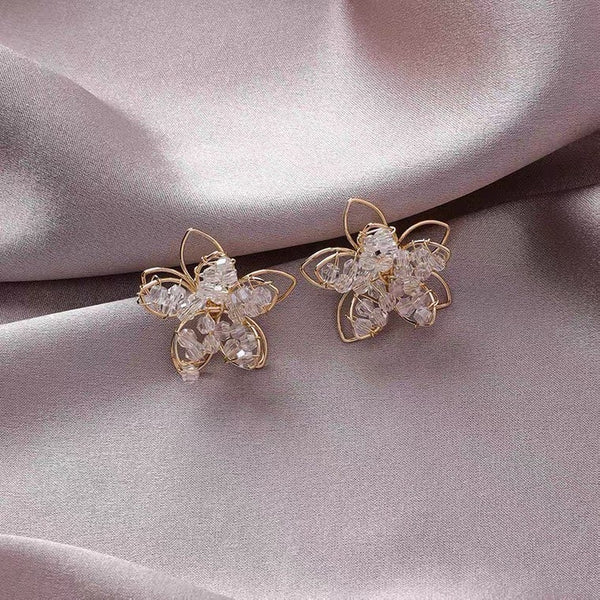 Large Crystal Flower Earrings