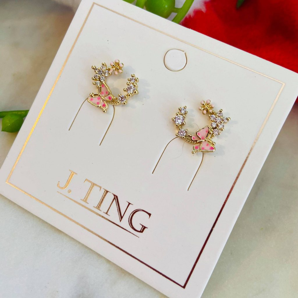 Pink Butterfly 3/4 Circle Earrings