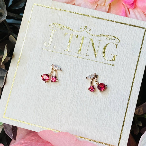 Pink Diamante Cherry Stud Earrings