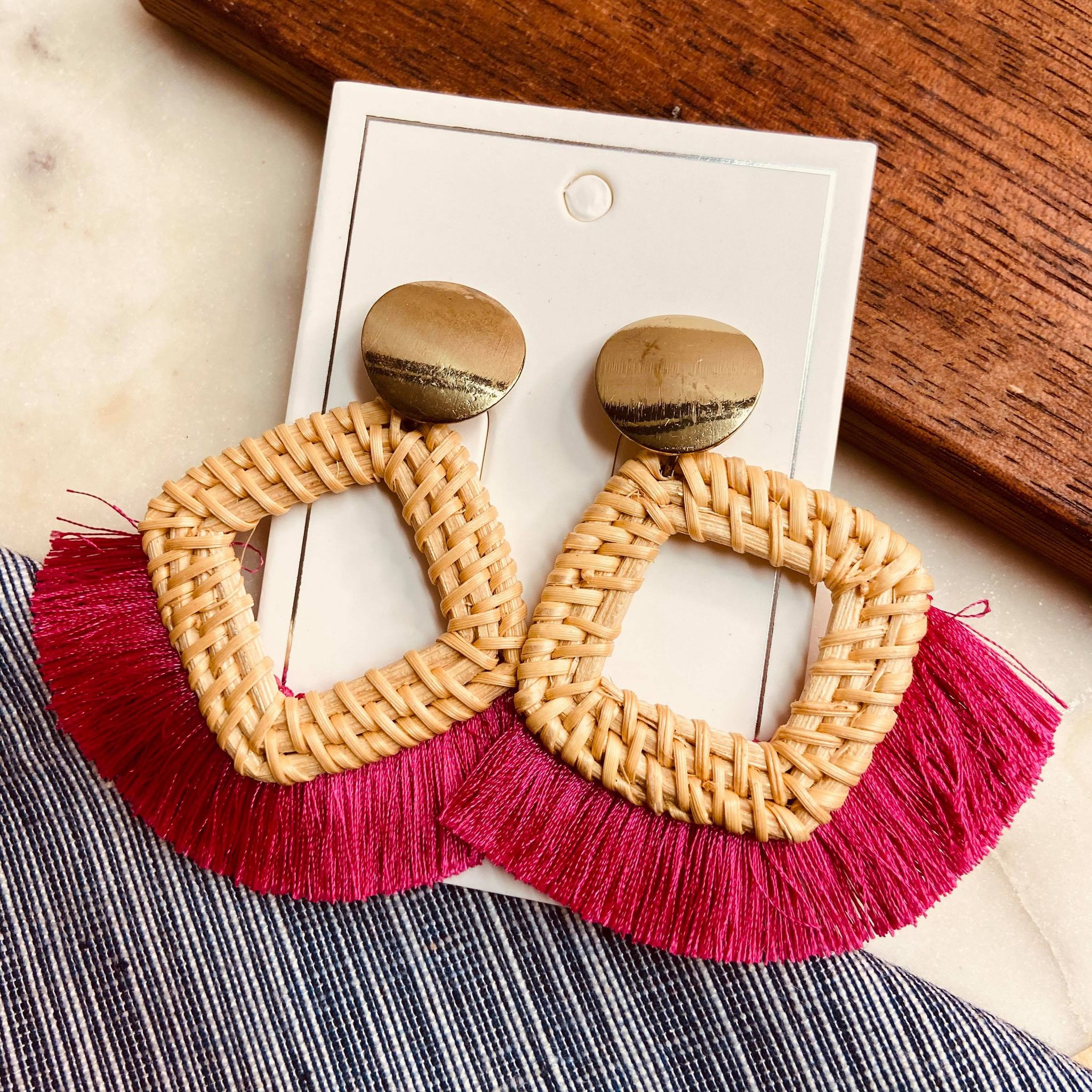 Pink Tassel and Wood Square Hoop Earrings