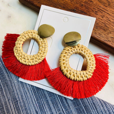 Red Tassel with Wood Hoop Earrings