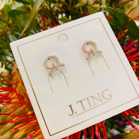 Rose Gold Crystal Tied Stud Earrings