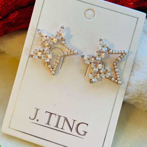 Rose Gold Pearl Floral Star Shaped Earrings