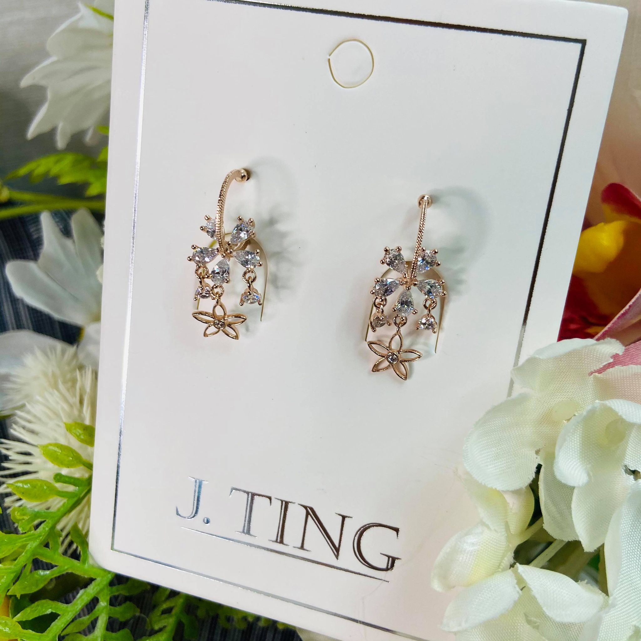 Rose Gold Crystal Flower Earrings