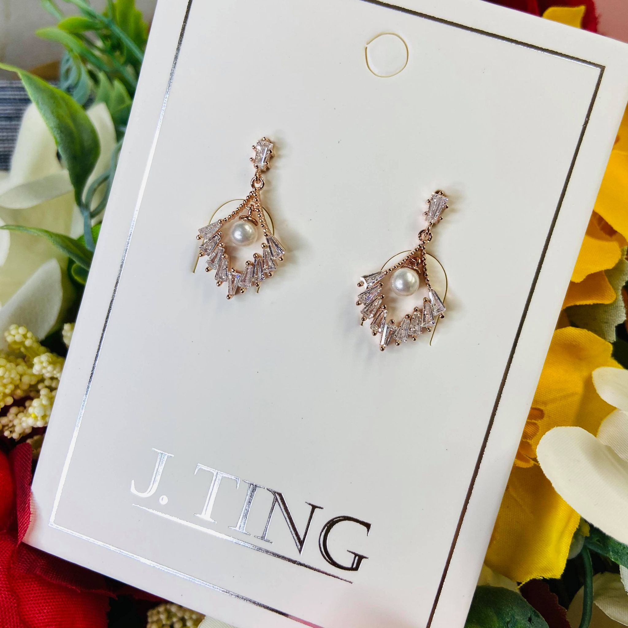 Rose Gold Crystals with Pearl Earrings