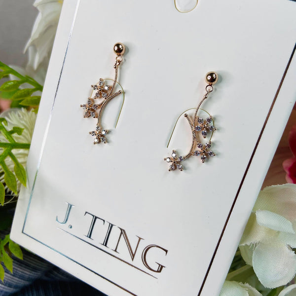 Rose Gold Flower Branch Earrings