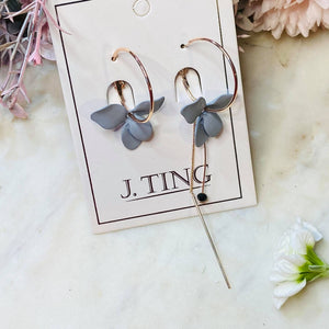 Rose Gold Hoop with Grey Flower Mismatched Earrings