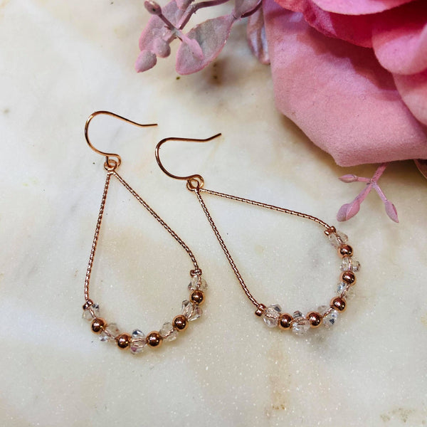 Rose Gold Tear Drop Dangle Earrings  - Faux Clear Crystals
