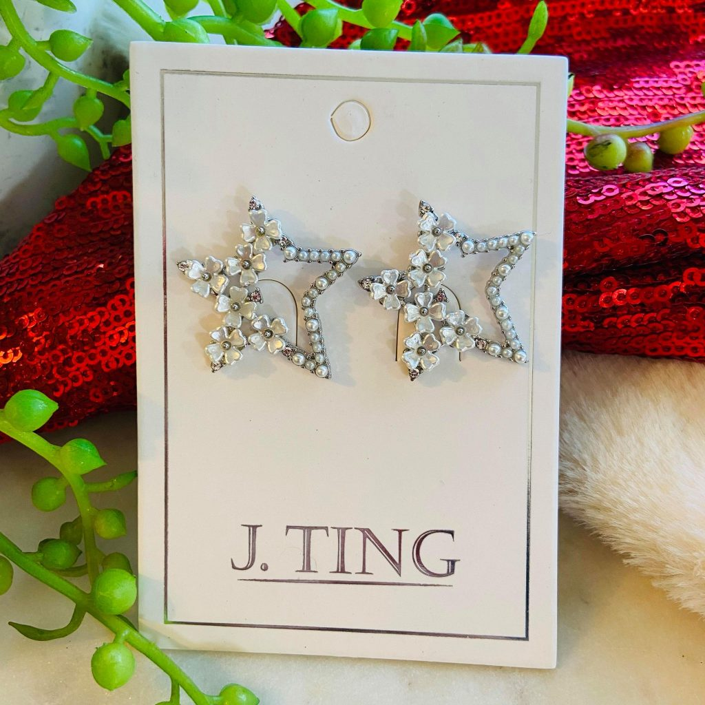 Silver Pearl Floral Star Shaped Earrings