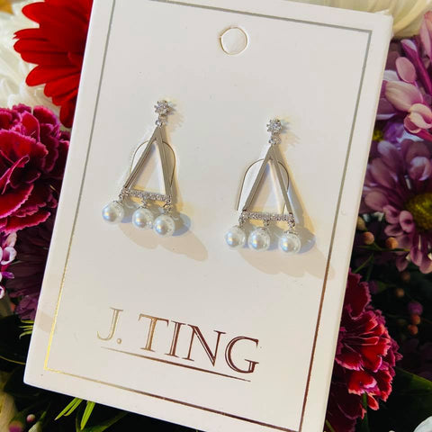 Silver Triangle Pear Earrings
