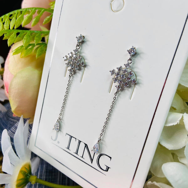 Silver Crystal Diamond Shape Drop Earrings