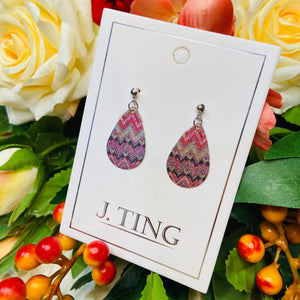 Teardrop Pattern Earrings - Chevron