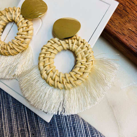 White Tassel Wood Hoop Earrings