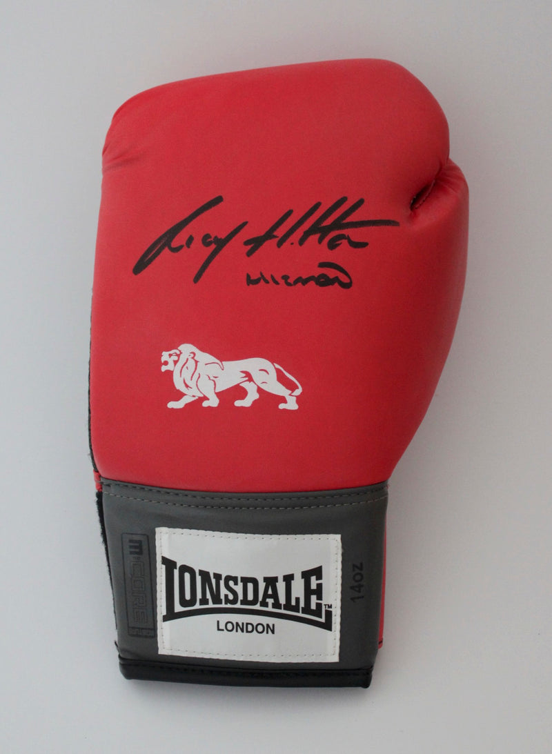 RICKY HATTON SIGNED RED LEFT HANDED BOXING GLOVE - PORTRAIT SIGNATURE
