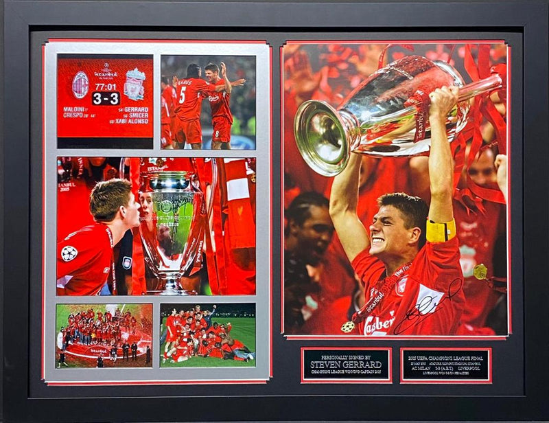 PERSONALLY SIGNED STEVEN GERRARD LIVERPOOL PHOTO - CHAMPIONS LEAGUE - BESPOKE FRAME 1