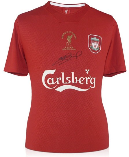 PERSONALLY SIGNED STEVEN GERRARD LIVERPOOL SHIRT - CHAMPIONS LEAGUE