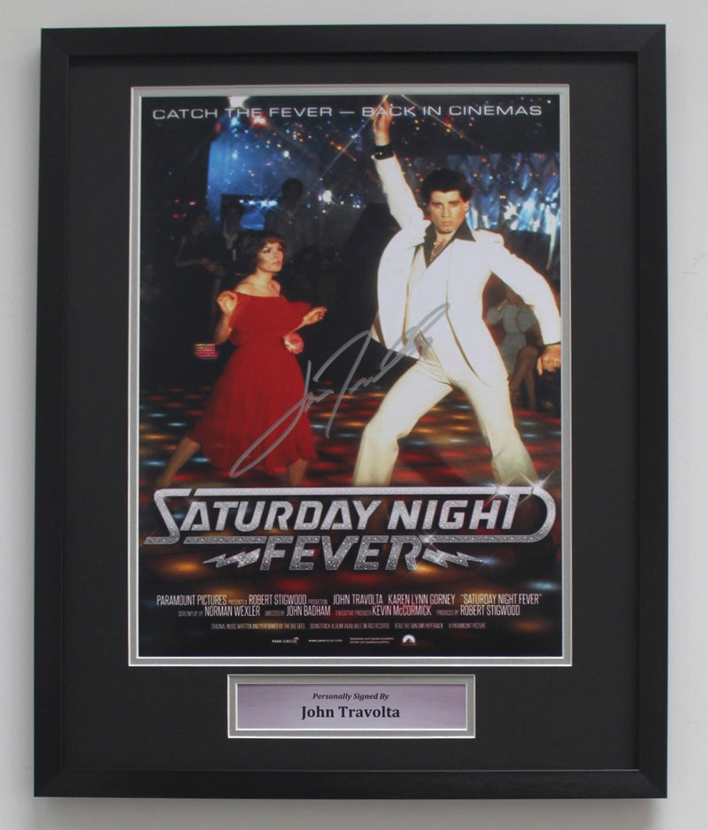 JOHN TRAVOLTA SIGNED SATURDAY NIGHT FEVER POSTER - CLASSIC FRAME