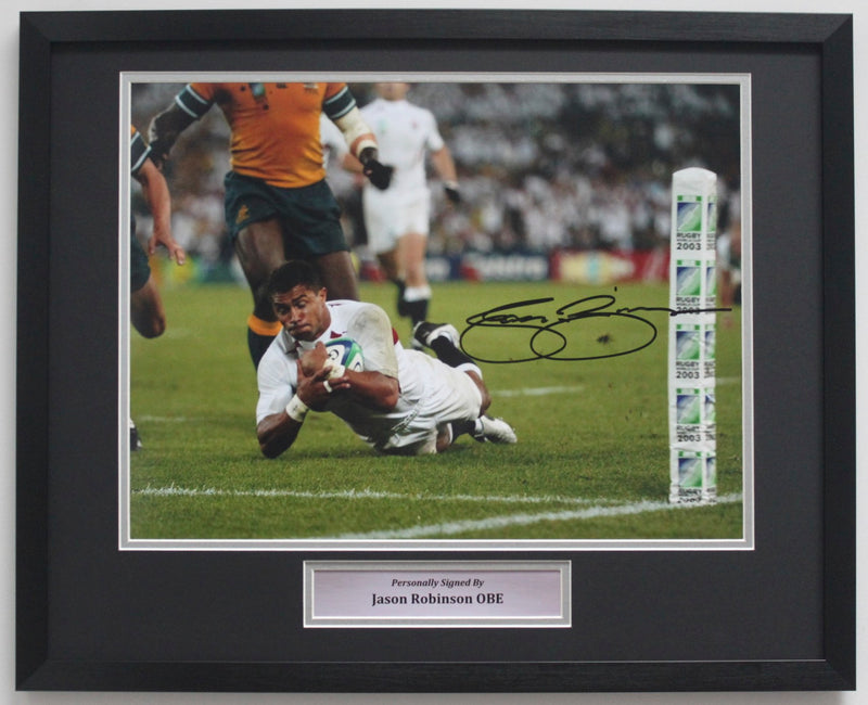 JASON ROBINSON SIGNED ENGLAND PHOTO - 2003 RUGBY WORLD CUP TRY - CLASSIC FRAME