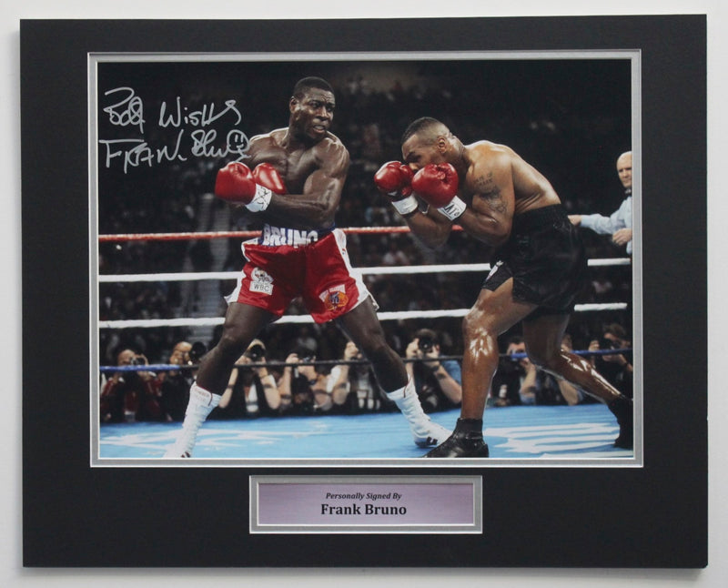FRANK BRUNO SIGNED PHOTO - FIGHTING MIKE TYSON - PRE FRAMED MOUNT